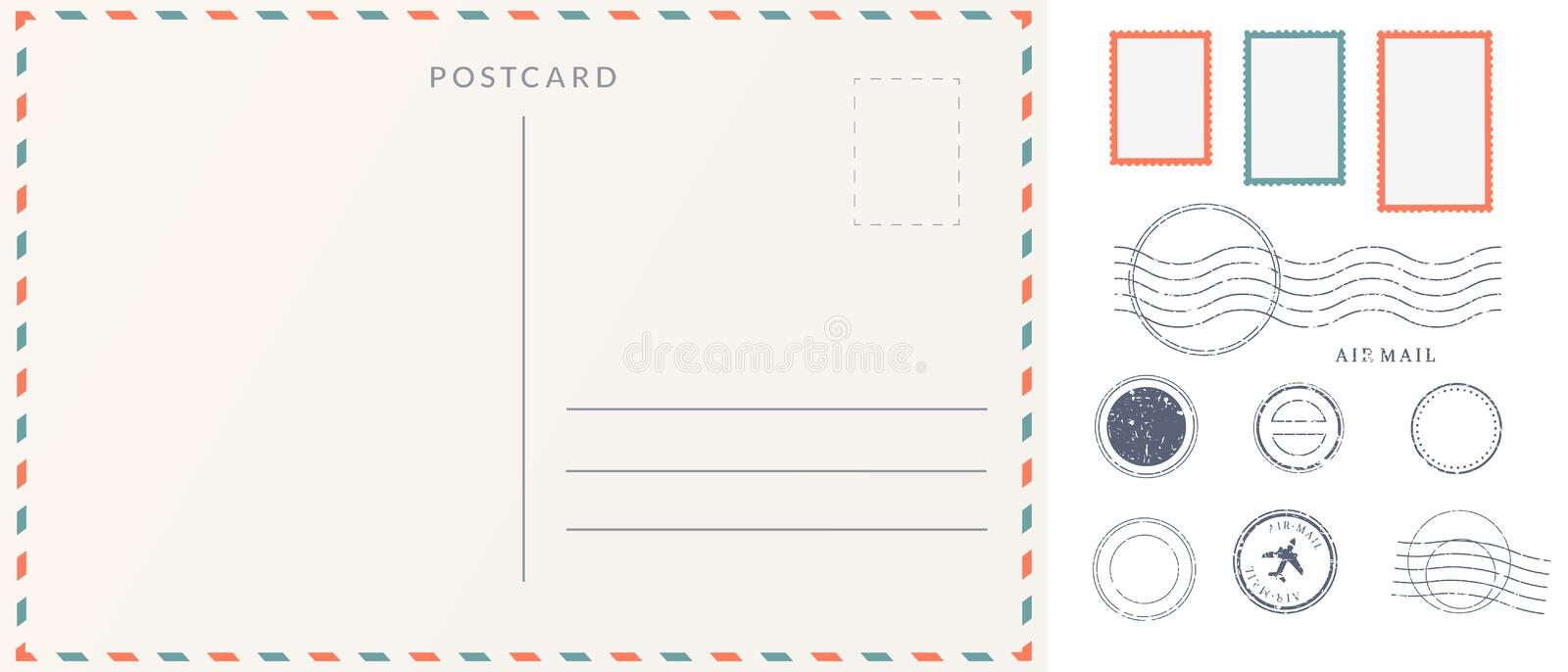 Elements for empty postcard back. royalty free illustration