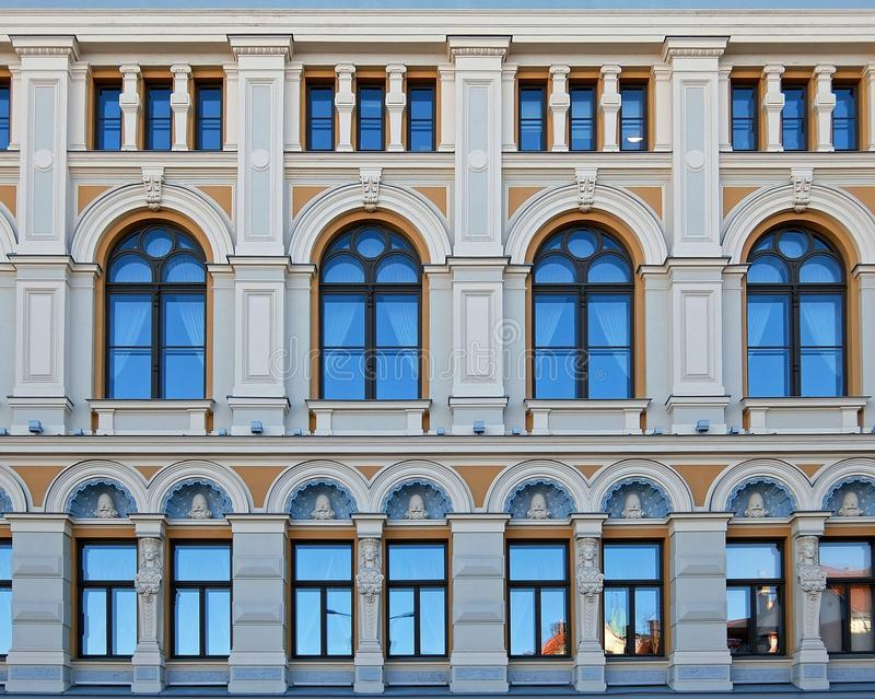 Elements of the facade of the Russian theater Chekhova in Riga. Russian Drama Theater named after Chekhov, the façade facing Livu Square, 19th century royalty free stock image