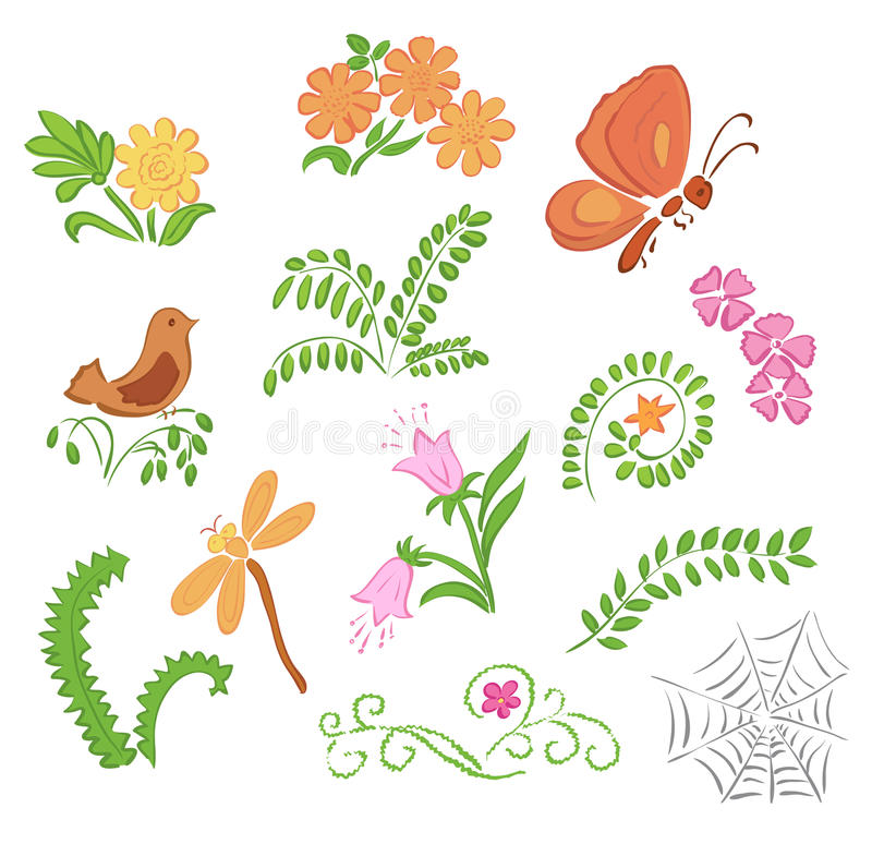 Download Elements Of Flora And Fauna - Vector Stock Vector - Illustration of grass, bright: 38956645