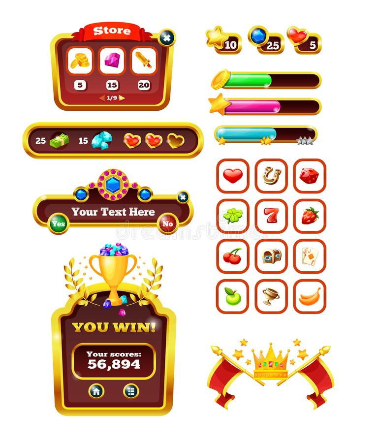 Casino icons for slot machines, lotteries for 2d games. Elements game interface. Casino icons for slot machines, lotteries for 2d games. Mobile game design vector illustration