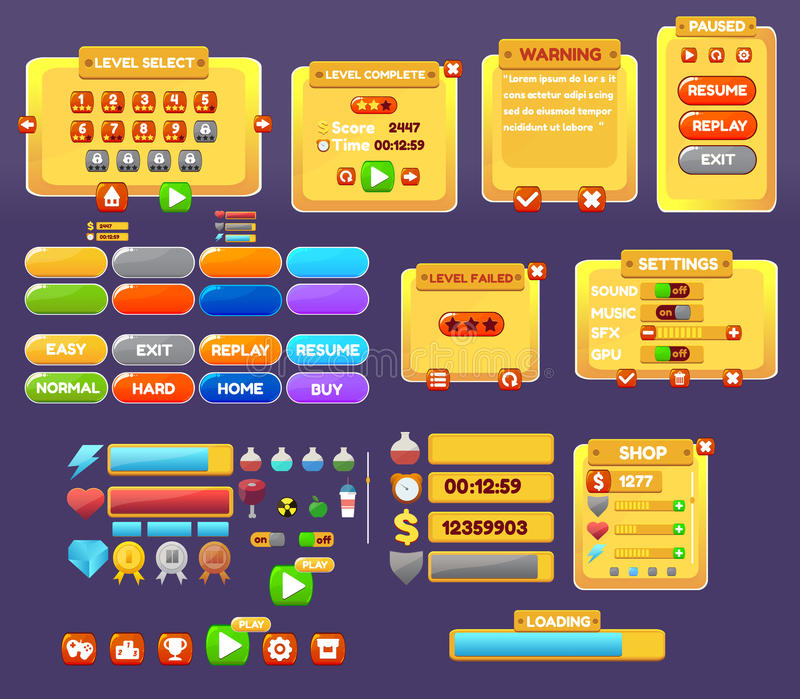 The elements of the game interface. Game menu, level interface ,panels ,ui ,buttons stock illustration