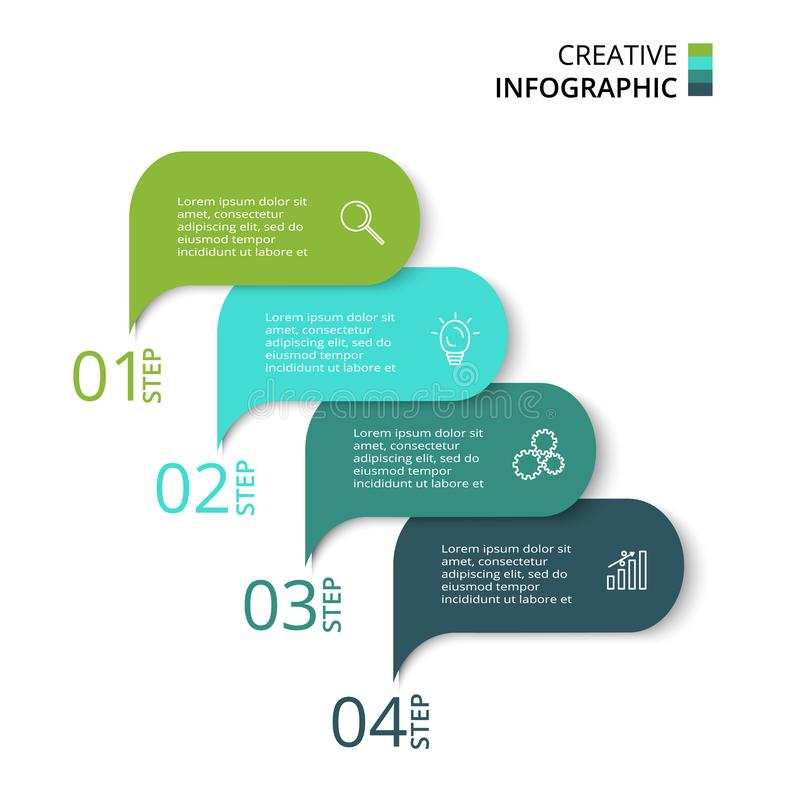 Elements of graph, diagram with 4 steps, options, parts or processes. Vector business template for presentation. Business data visualization. Process chart stock illustration