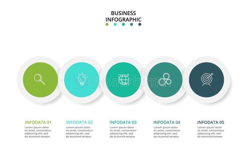Elements of graph, diagram with 5 steps, options, parts or processes. Vector business template for presentation. Business data visualization. Process chart vector illustration