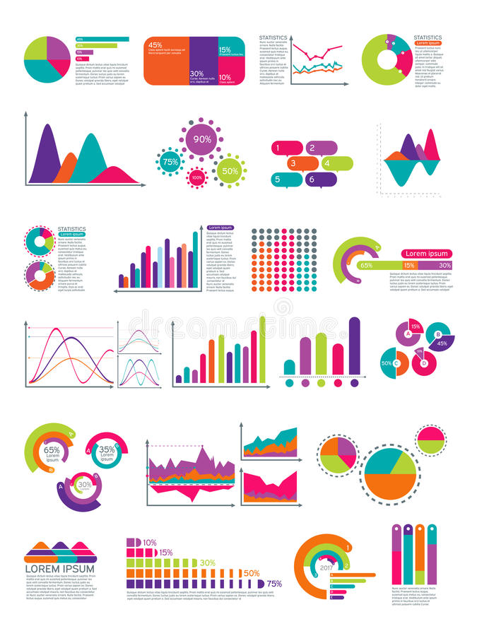 Elements of infographic with flowchart. Vector statistics diagrams website layout template. Color diagram and graph, icon of business chart illustration stock illustration