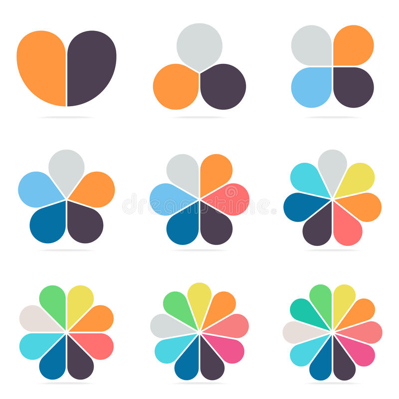 Elements for infographics. Pie charts, diagrams with 2- 10 petals. vector illustration