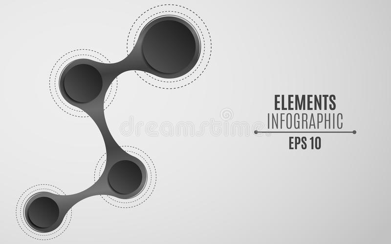 Elements for infographics in the style metaball. An empty space for your web, business projects. Paper circles are black with a sh royalty free illustration