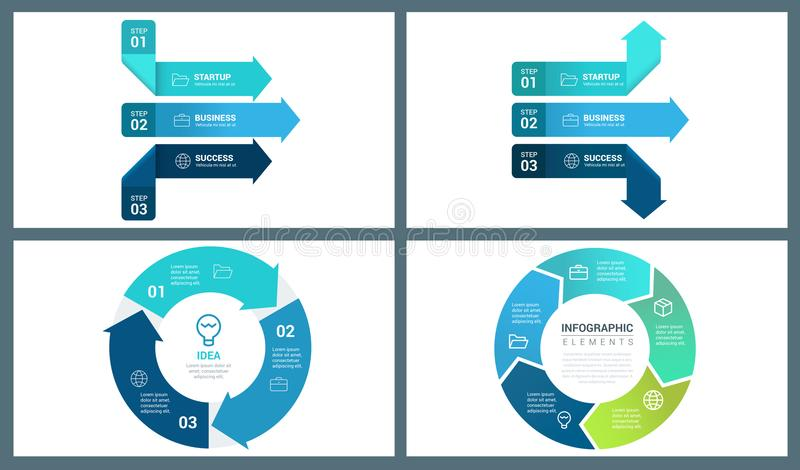 Blue Colour Vector Perspective Arrow and Circle Infographic Template royalty free illustration