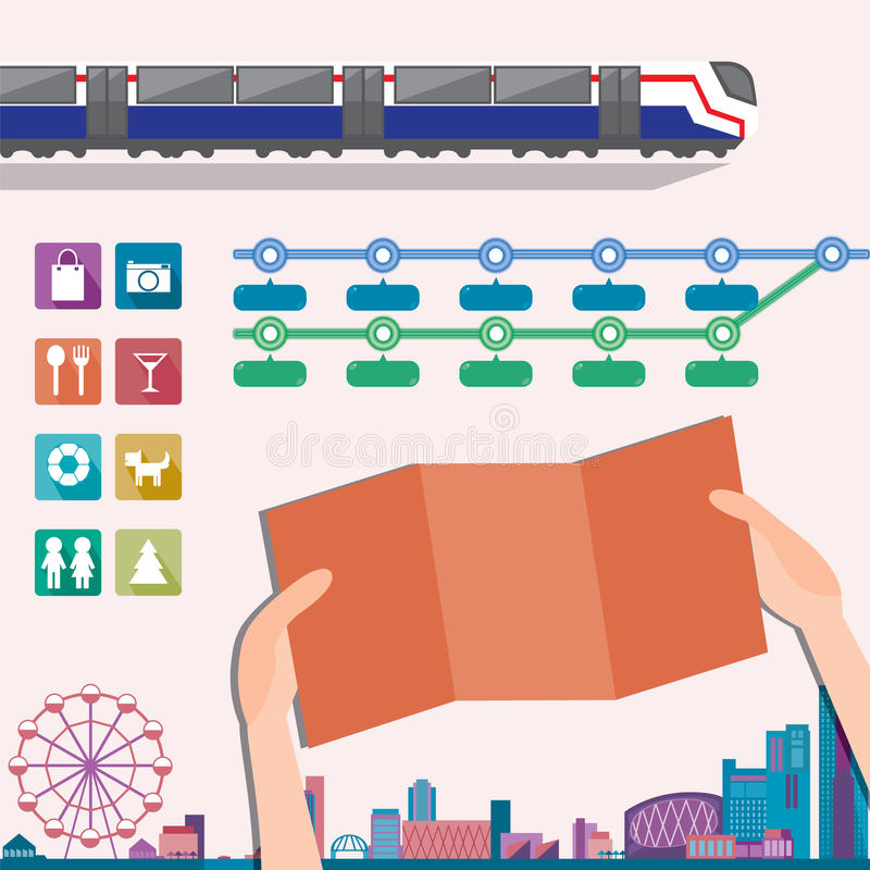 Elements for metro or subway map design template. stock illustration