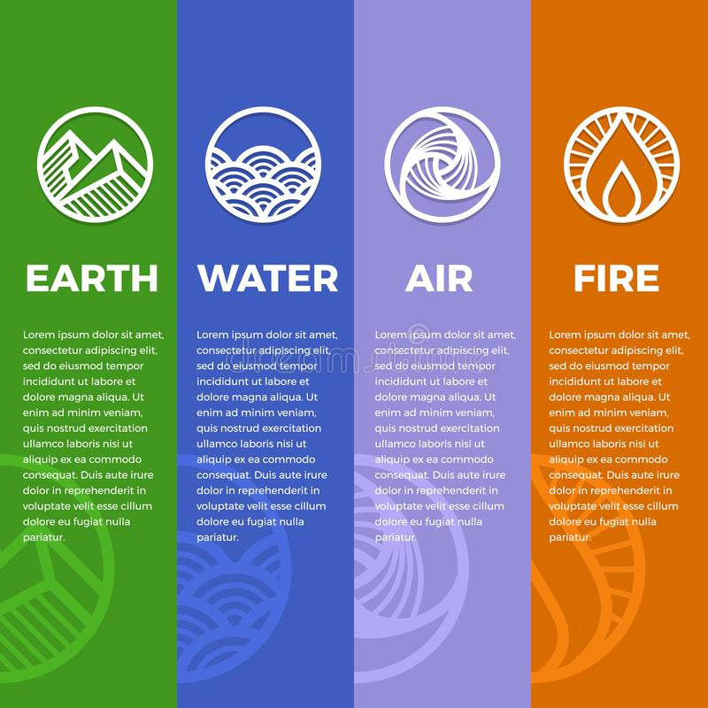 4 elements of nature symbols circle line boder line modern sharp style with earth , fire , air and water vector design vector illustration