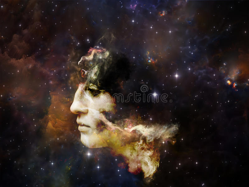 Elements of Our Past. Memory of Me series. Composition of female portrait and space texture suitable as a backdrop for the projects on art, philosophy and royalty free stock images