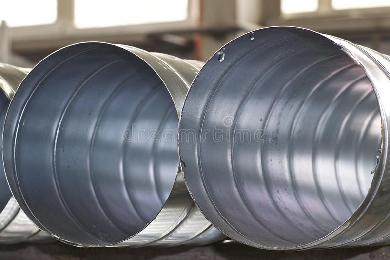 Elements and parts made of galvanized sheet for various ventilation systems. Russia stock photography