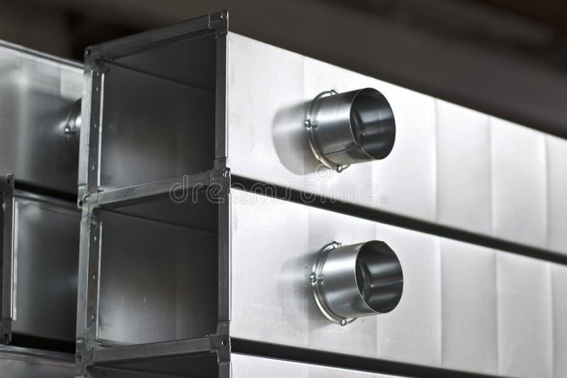 Elements and parts made of galvanized sheet for various ventilation systems. Russia stock image