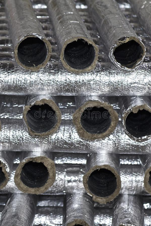 Elements and parts made of galvanized sheet for various ventilation systems. Russia royalty free stock image