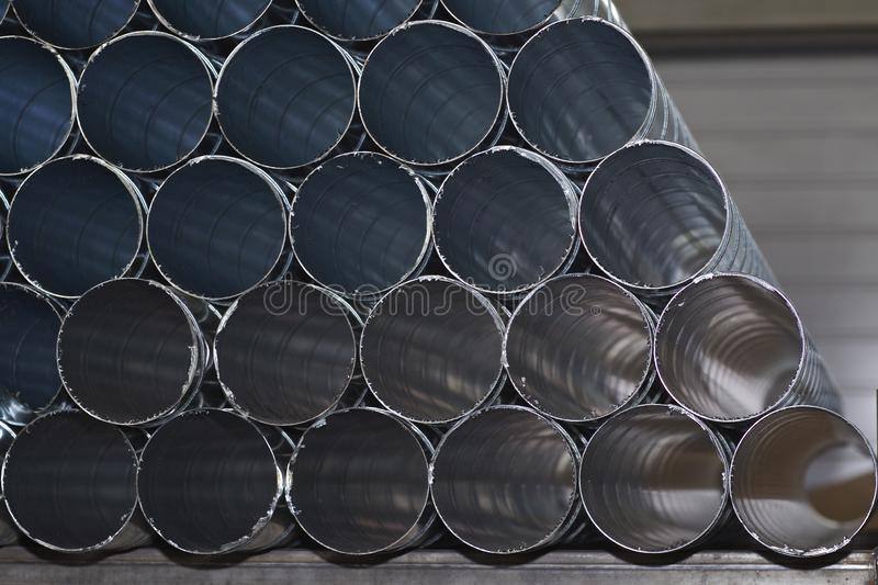 Elements and parts made of galvanized sheet for various ventilation systems. Russia royalty free stock photos