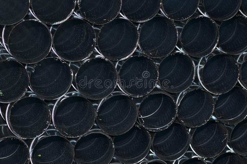 Elements and parts made of galvanized sheet for various ventilation systems. Russia royalty free stock photo