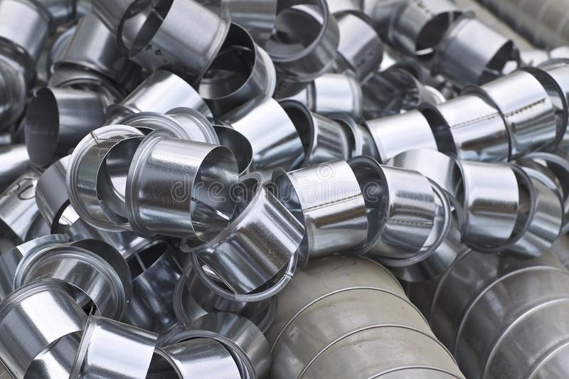 Elements and parts made of galvanized sheet for various ventilation systems. Russia royalty free stock images