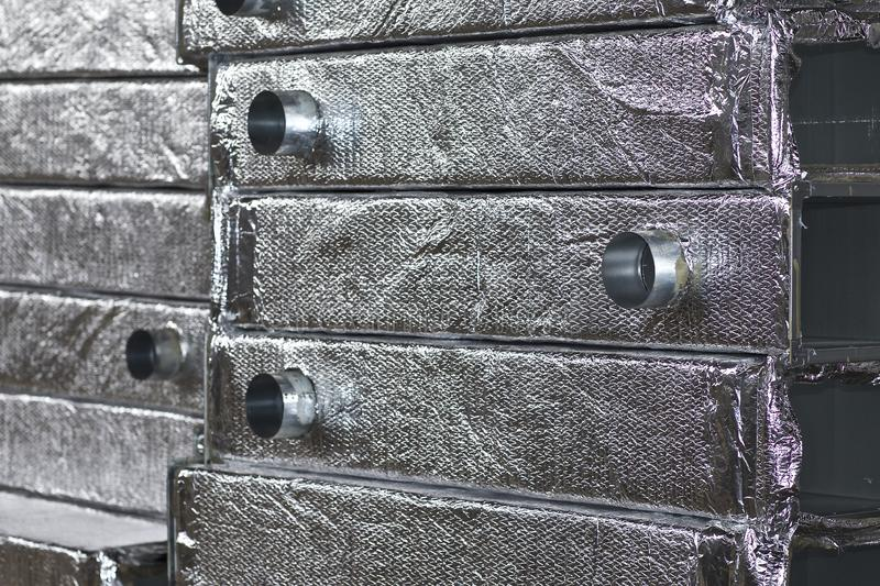 Elements and parts made of galvanized sheet for various ventilation systems. Russia stock photos