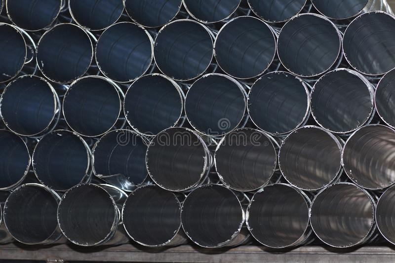 Elements and parts made of galvanized sheet for various ventilation systems. Russia stock photo