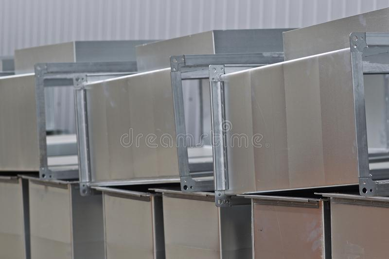 Elements and parts made of galvanized sheet for various ventilation systems. Russia royalty free stock photography