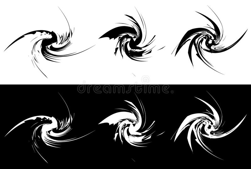 Elements with rotating distortion, spiral effect. Abstract geo stock illustration