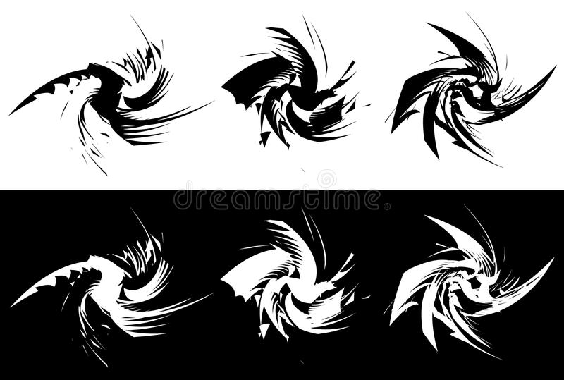 Elements with rotating distortion, spiral effect. Abstract geo vector illustration