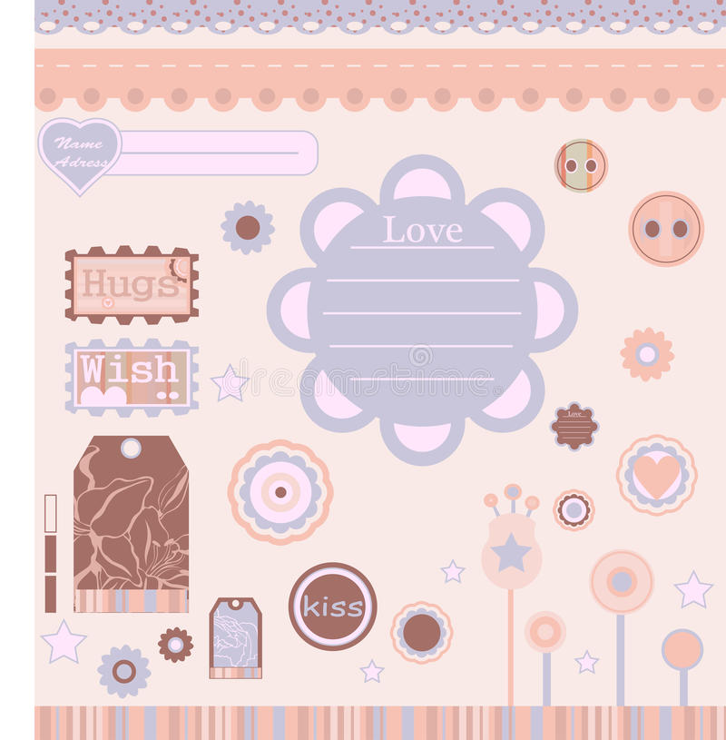 Elements for scrap-booking. Many different scrap-booking elements with background. Vector. Printable stock illustration