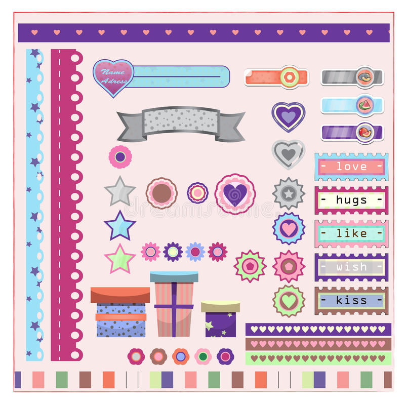 Elements for scrap-booking stock illustration