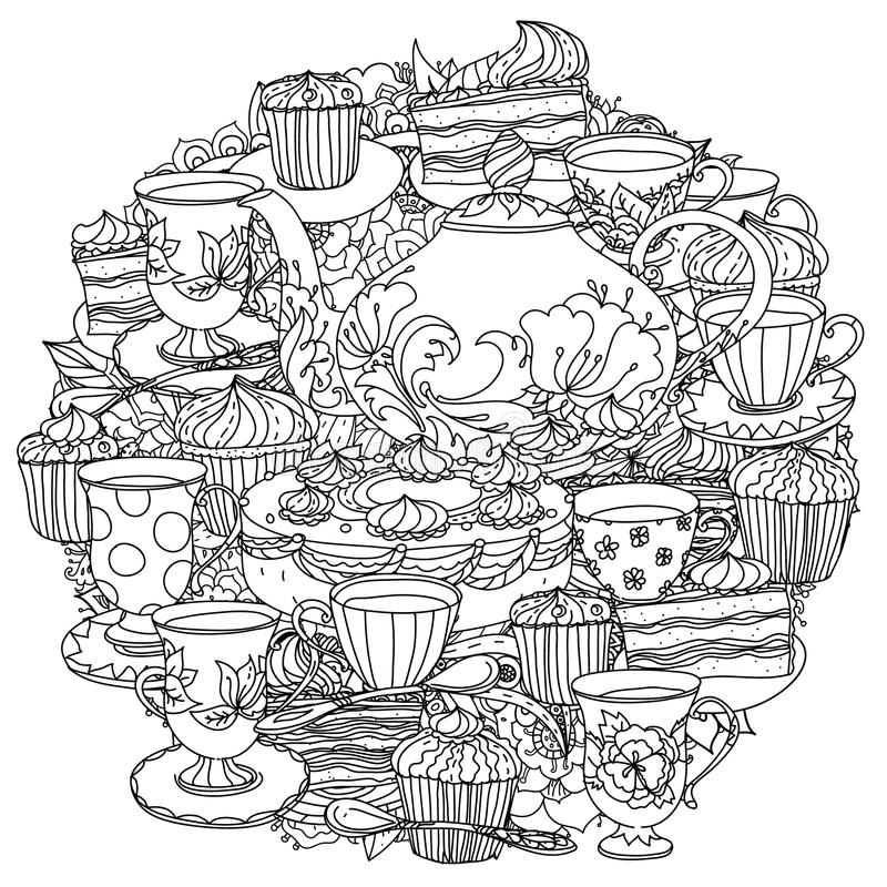with elements of time for tea stock vector  illustration