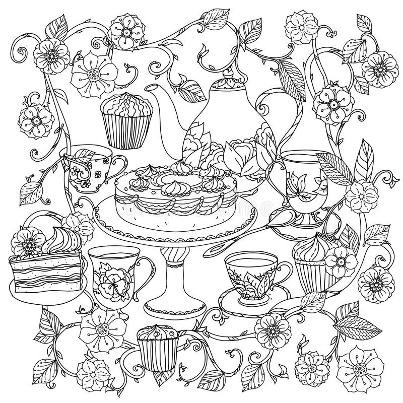 With Elements Of Time For Tea Stock Vector Illustration Of Lace Mosaic 70046244
