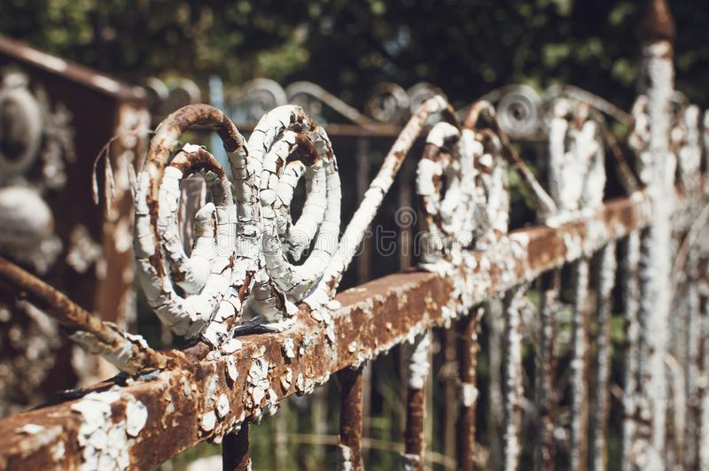 Elements of a very old vintage metal fence, Closeup, selective focus royalty free stock photo