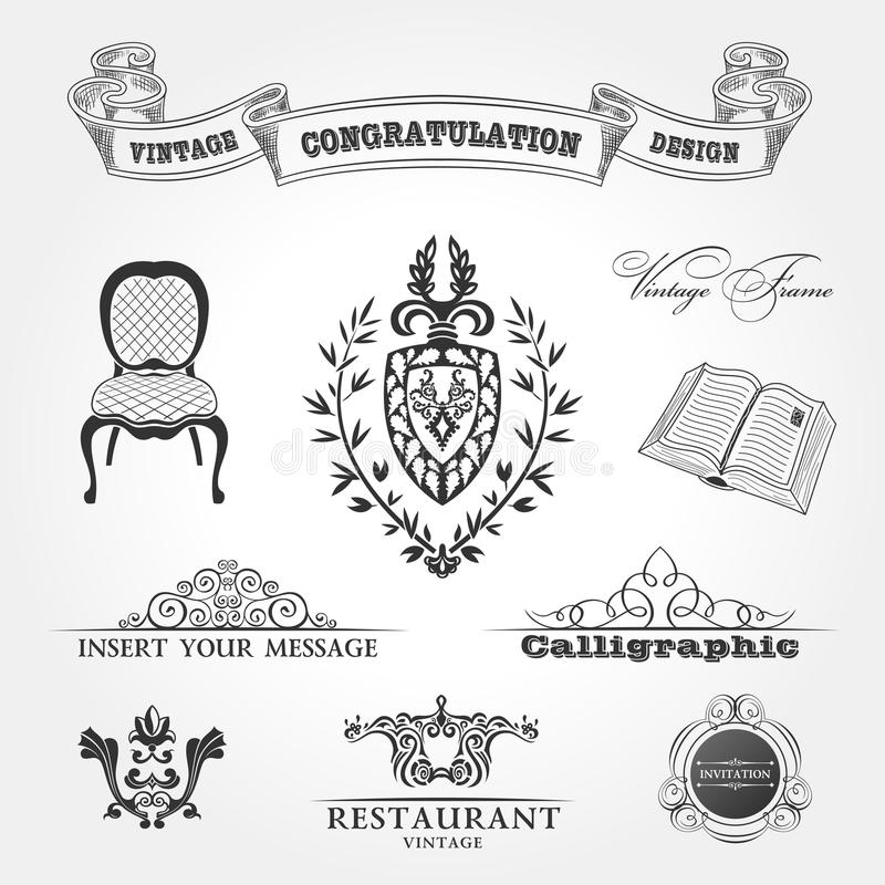Elements vintage Chair ribbon book. Vector