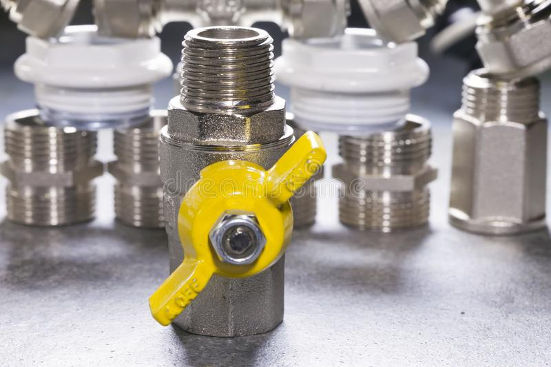 Elements of water and gas shutoff valves.  royalty free stock photography
