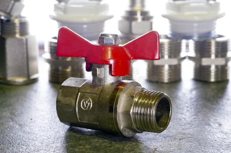Elements of water and gas shutoff valves.  stock photos