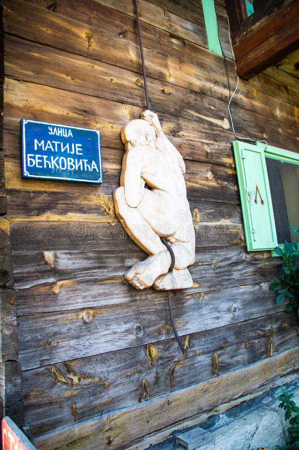 Elements of the wooden decor in Kusturica Drvengrad in Serbia royalty free stock photo