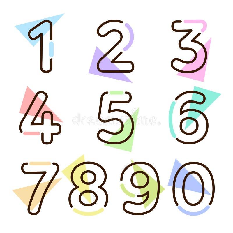 Elementsatz von Form mit zehn Zahlen null bis neun, nummerieren flaches Design lizenzfreie abbildung