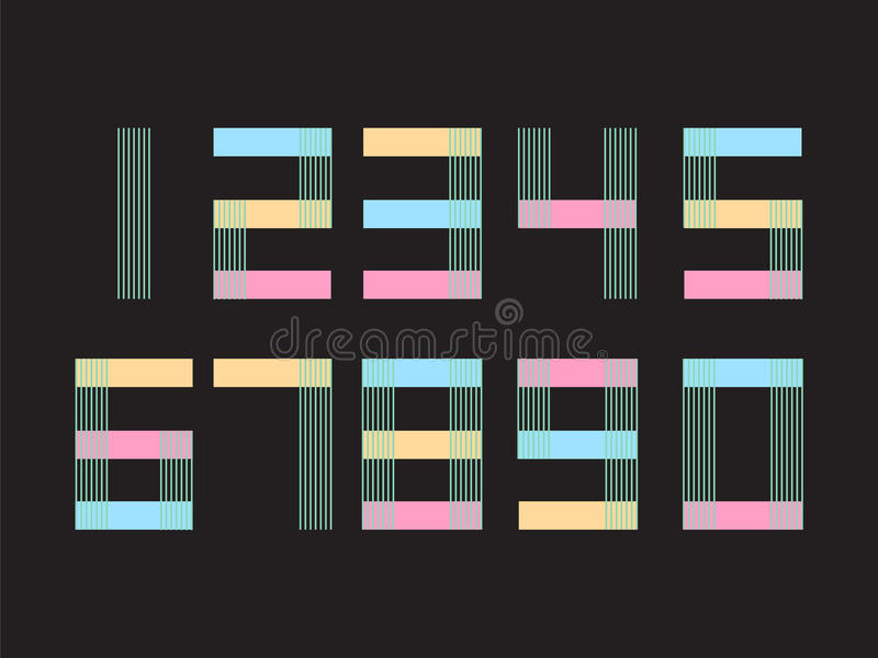 Elementsatz von Form mit zehn Zahlen null bis neun, nummerieren flaches Design vektor abbildung