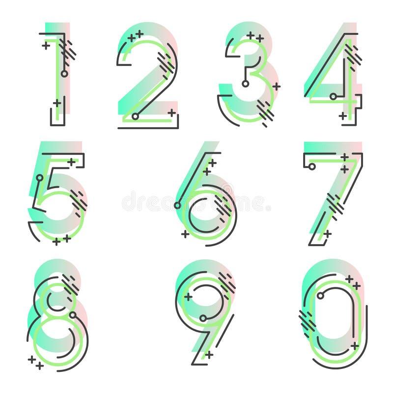 Elementsatz von Form mit zehn Zahlen null bis neun, nummerieren flaches Design stock abbildung