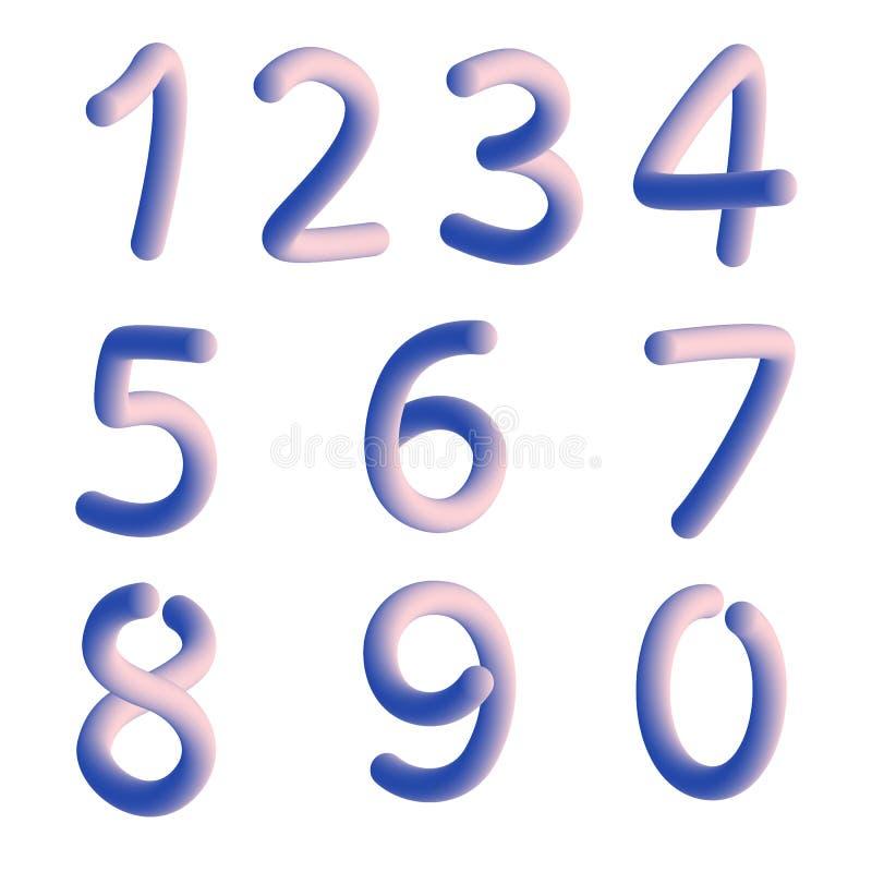 Elementsatz von Form mit zehn Zahlen null bis neun, Zahldesign stock abbildung