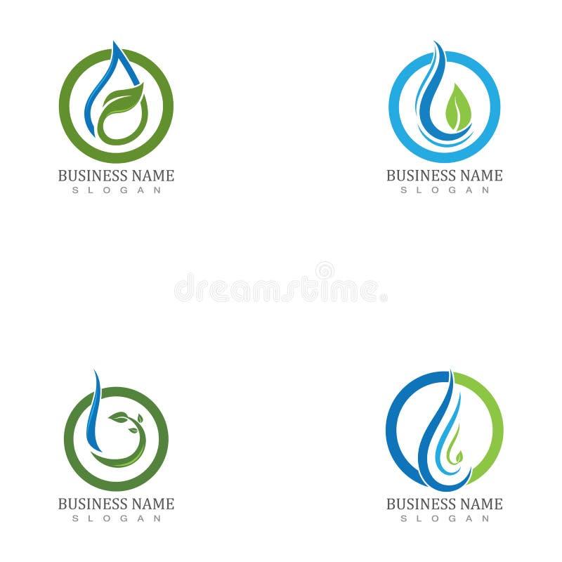 Elementsymboler för droplet-element i vatten, företagslogotyp stock illustrationer