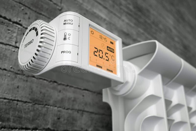 Elementtermostatkontrollant på värmeapparaten closeup royaltyfri illustrationer