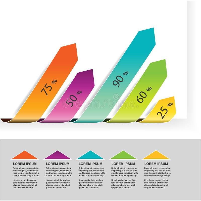 Elementu infographics, diagram z strzała, prosty kolorowy wykresu procent, 5 kroczy linia czasu wskaźnika, prętowy wykres, mapa p ilustracji