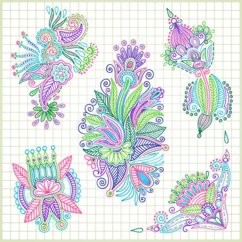elementu kwiatu set ilustracja wektor