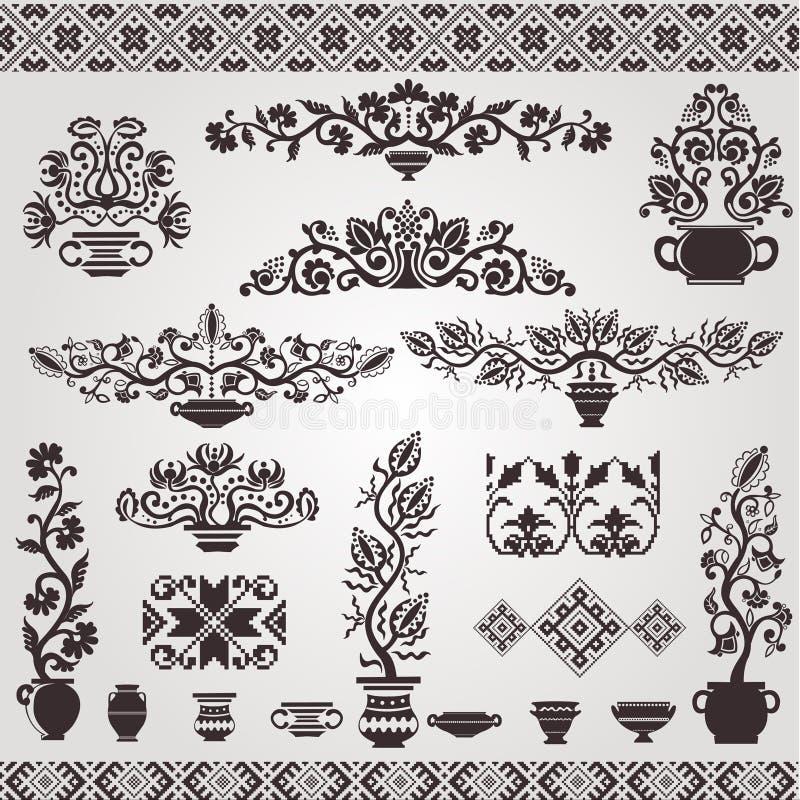 elementu ludowy pettern sylwetki ukrainian rocznik ilustracji