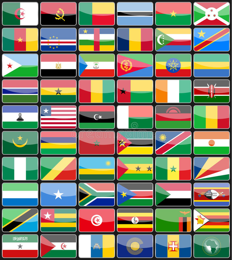 Elementu projekta ikon flaga kraje Afryka ilustracja wektor