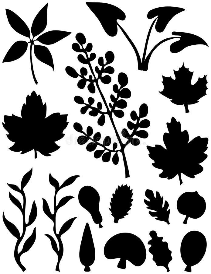 elementy abstrakcjonistyczni kształty liści ilustracji