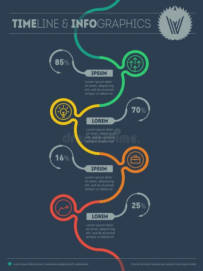 Elementy dla dane unaocznienia Diagram skłonność i trend ilustracja wektor