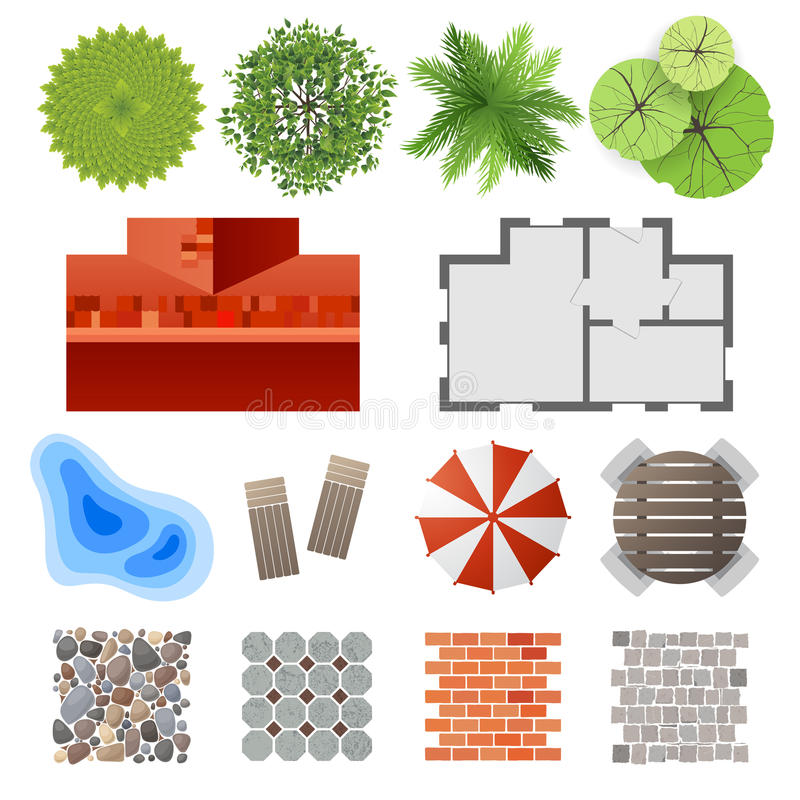 Elementy dla krajobrazowego projekta royalty ilustracja
