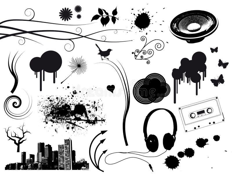 elementy grunge muzyki royalty ilustracja