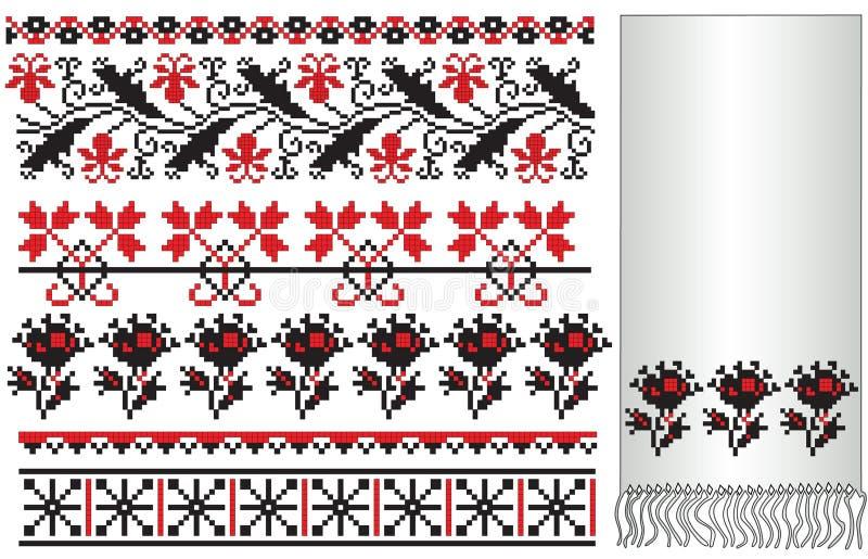 elementy haftują kwiatu ukrainian royalty ilustracja
