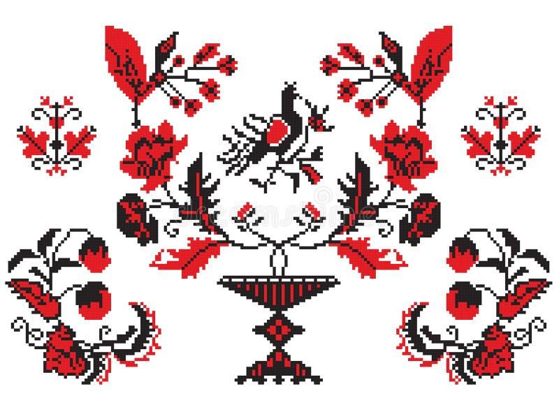 elementy haftują ukrainian ilustracji